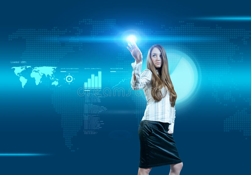 Future business solutions businesswoman stock photos