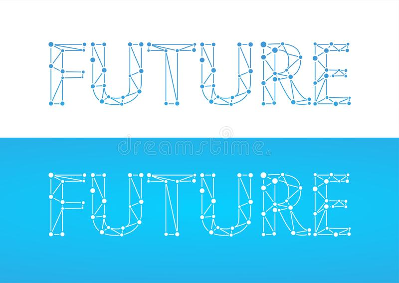 Future - caption in blue color isolated on white and blue color. Label with word title in style of network with links and connections symbolizing future vector illustration