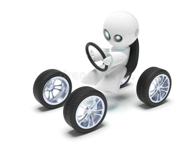 The future car. A computer generate image of a funny robot on a futuristic car vector illustration