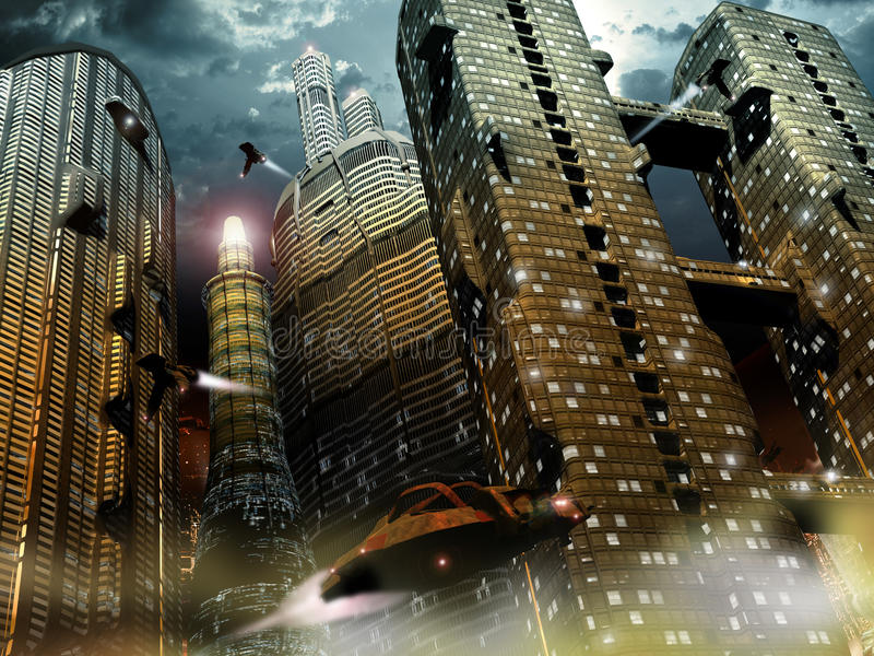 Future city. Virual presentation of a futuristic city on Earth. Several spaceships are flying in the view