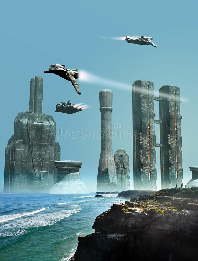 Future city stock illustration