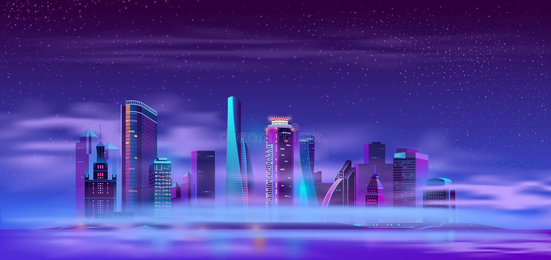 Future city on artificial island cartoon vector. Futuristic skyscraper buildings on river or ocean island covered thick fog or mist neon color cartoon vector royalty free illustration