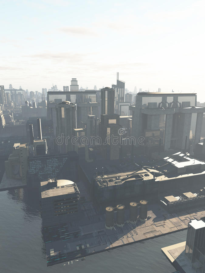 Future City - the Canal District. Science fiction illustration of the canal district of a future city in early morning mist, copy space in sky, 3d digitally vector illustration