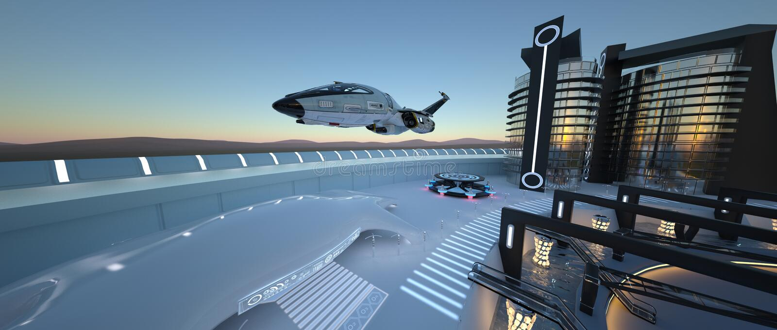 Future city. 3D CG rendering of the future city stock images