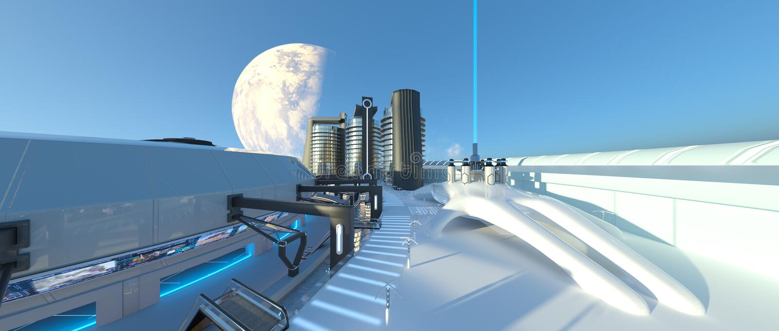 Future city. 3D CG rendering of the future city royalty free stock photo