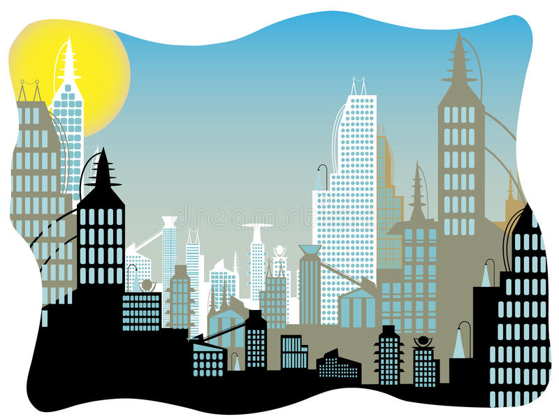 Download Future City Daytime Abstract Border Stock Illustration - Image: 21266488