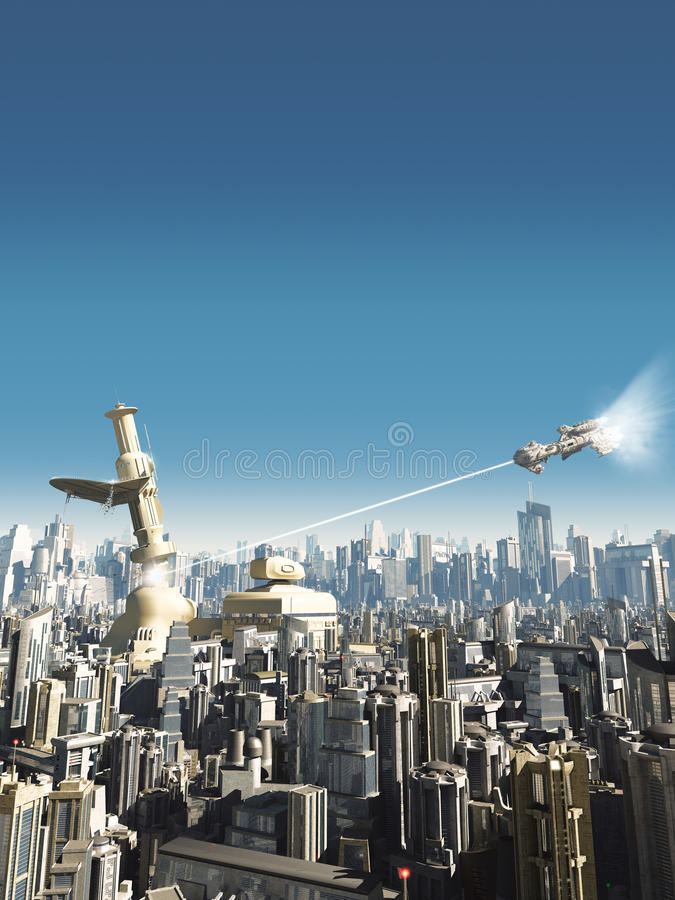 Download Future City - Falling Tower Stock Illustration - Image: 29551553