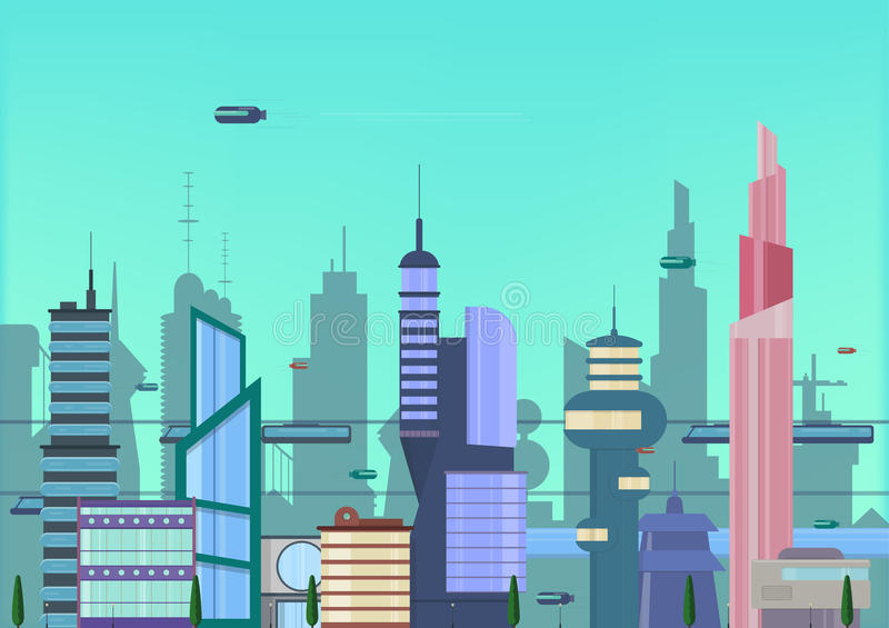 Future city flat illustration. urban cityscape template with modern buildings and futuristic traffic. banner for web royalty free illustration
