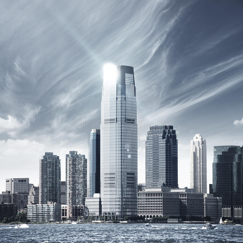 Future city NYC. Future city - photo of NYC - skyscrapers royalty free stock photos