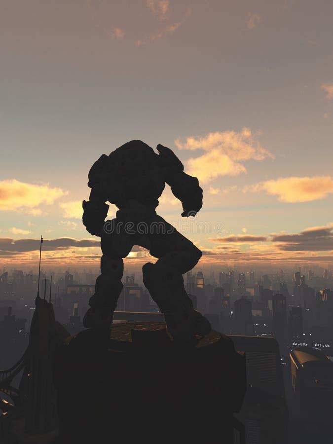 Free Future City - Robot Sentinel At Sunset Stock Image - 48953711
