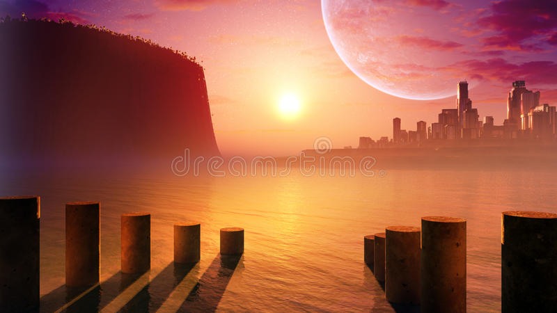 Future City By The Sea. Futuristic science fiction fantasy type of city skyline on the horizon with sun, clouds and huge moon and tiny stars. High tech city vector illustration