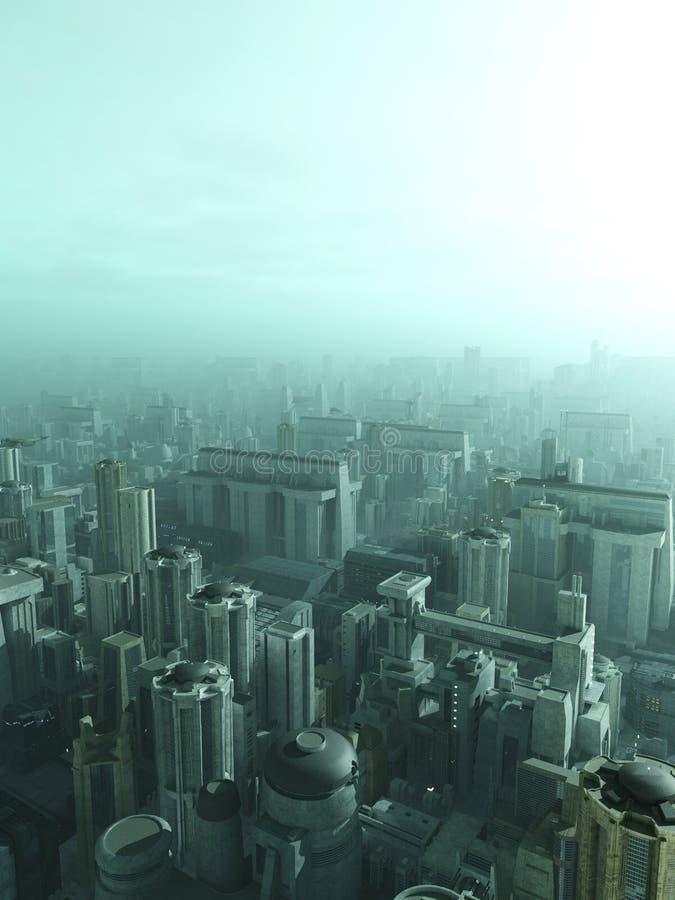 Future City Skyline in Blue Haze or Smog. Science fiction illustration of a futuristic science fiction city skyline in a blue misty haze or smog, 3d digitally stock illustration