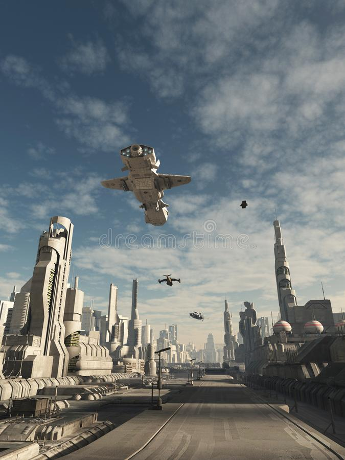 Future City - Spaceship Traffic Above the Streets. Science fiction illustration of spaceship traffic flying above the streets of a future city, 3d digitally stock illustration
