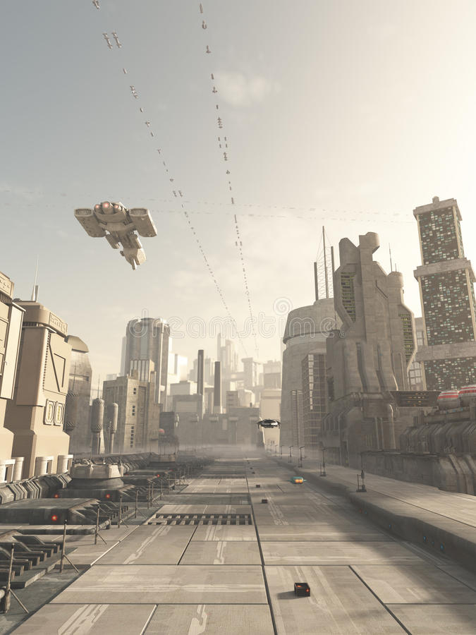 Future City Street with Space Cruiser Overhead. Science fiction illustration of a future city street with space cruiser and other aerial traffic overhead in hazy royalty free illustration