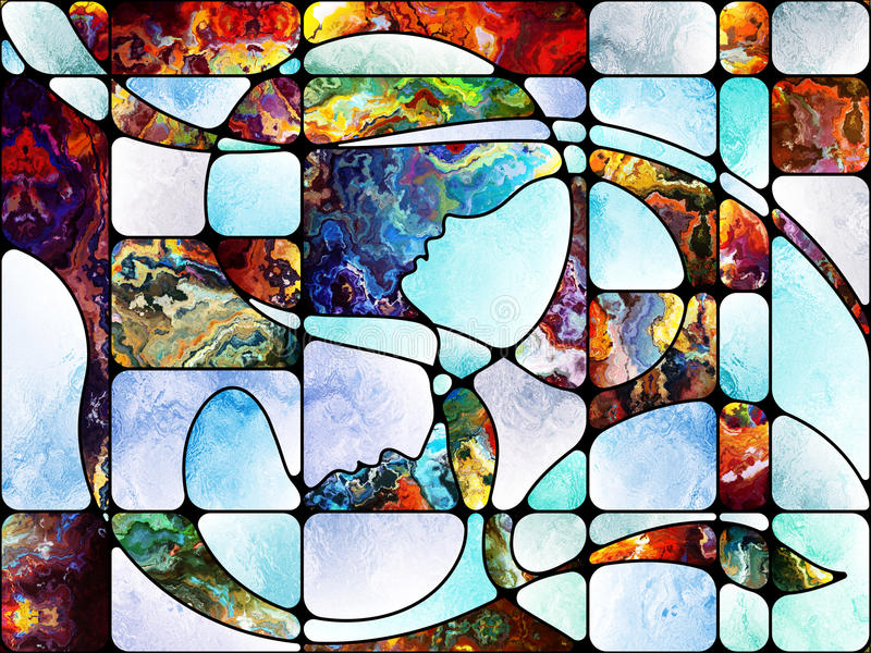 Future of Colored Glass. Souls of Light series. Composition of stained glass design, colorful textures and light on the subject of spirituality, imagination vector illustration
