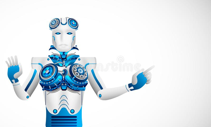 Future concept for artificial intelligence, Robot touching a virtual space display. Can be used as web template design. stock illustration