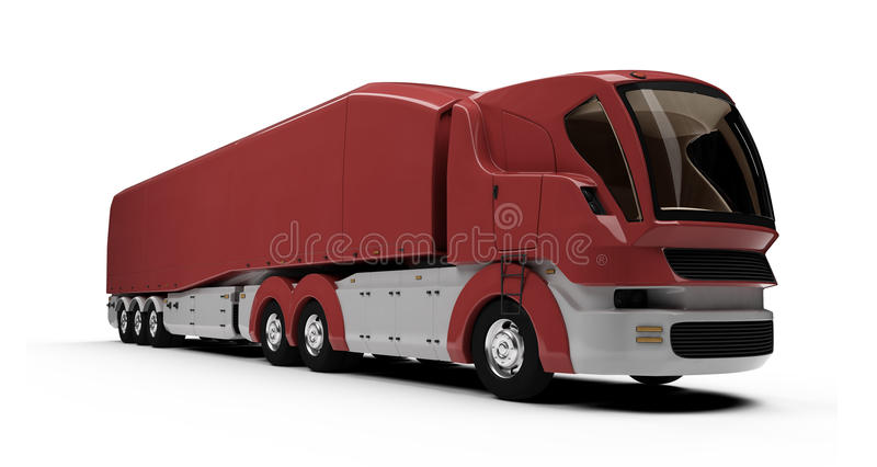 Future concept of cargo truck isolated view stock illustration