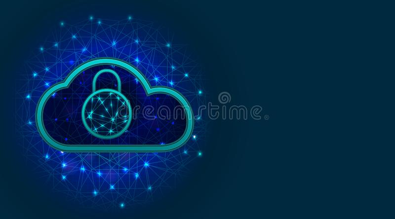 Future cyber security technology. Cloud data or network protection with padlock symbol on abstract blue background. Secure digital vector illustration