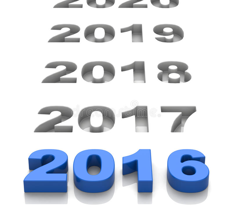 2016 and the future. 3d generated picture of a 2016 concpet royalty free illustration