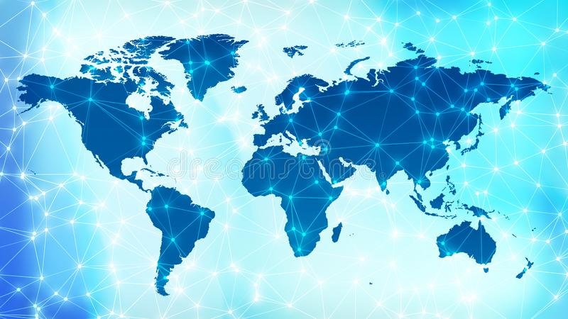 Future digital worldwide network connected lines on world map. Connected dots with lines and graphic world map, creative abstract background. Global business or royalty free stock images