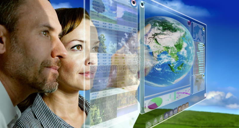 Future Display 3D. Man and woman are working with futuristic screen