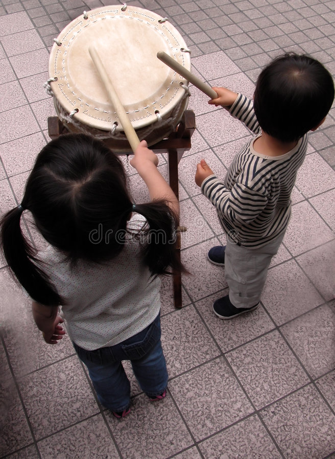 Future drummers duet...:) royalty free stock photography