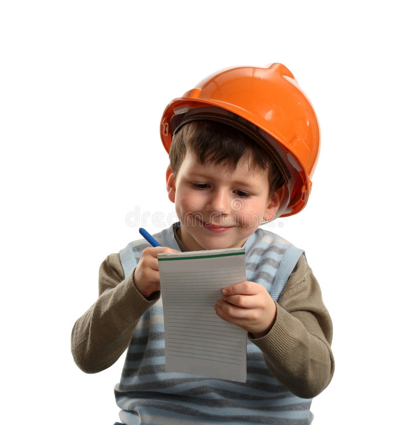Future engineer writing on note stock images