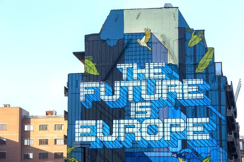The future is europe graffiti at brussels belgium royalty free stock images