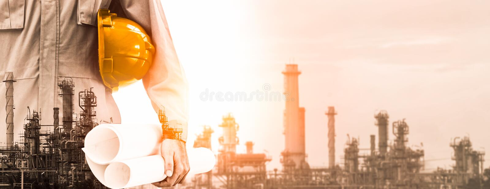 Future factory plant and energy industry concept stock photo