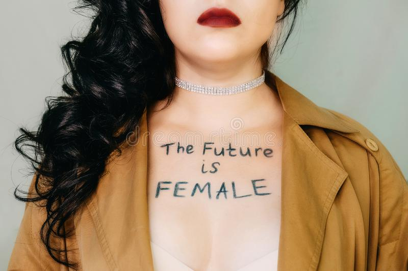 Future is female, Female empowerment, strong women, girl power, feminism, women`s rights, gender equality concept. Portrait of royalty free stock photography