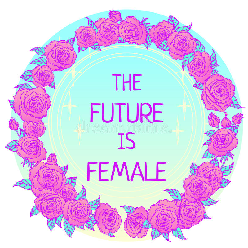 The future is female. Girl Power. Feminism concept. Realistic st. Yle vector illustration in pink pastel goth colors isolated on white. Sticker, patch graphic royalty free illustration