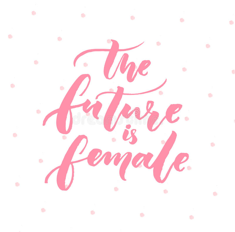 Nice Download The Future Is Female. Inspiration Feminism Quote, Pink Typography  On White Background With