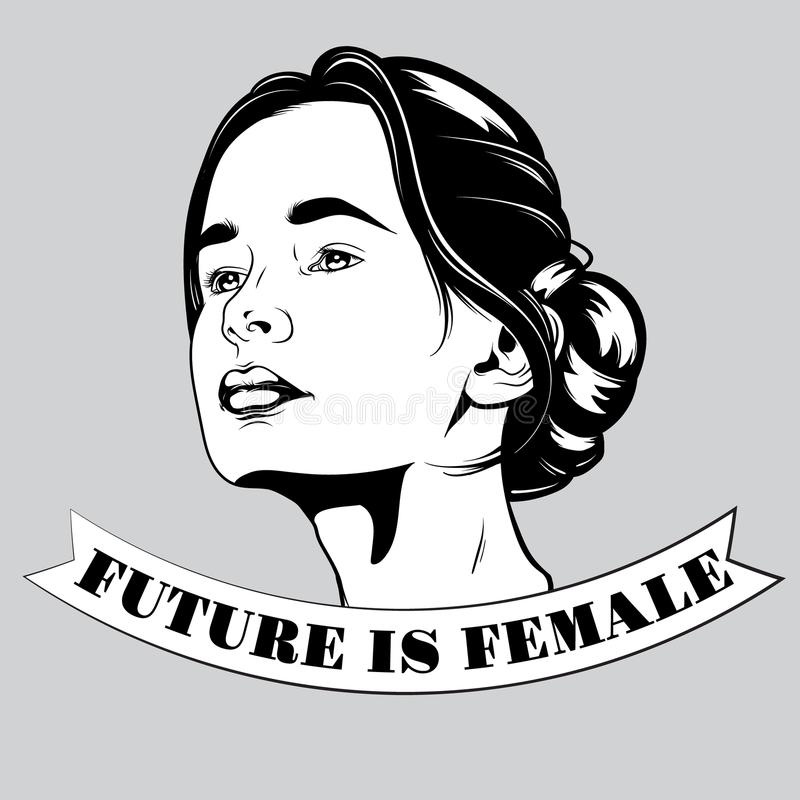 Future is female. Vector hand drawn illustration of pretty girl. royalty free illustration