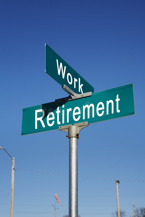 Future financial investment. A street sign at the crossroads or intersection of retirement and more work stock photography
