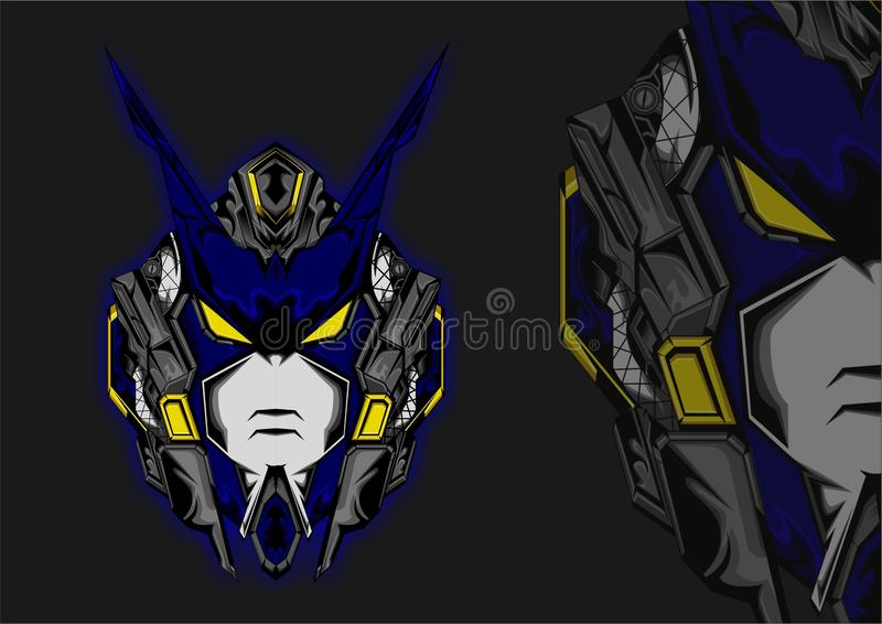 Future Head Geometric Japanese Style Gundam stock images