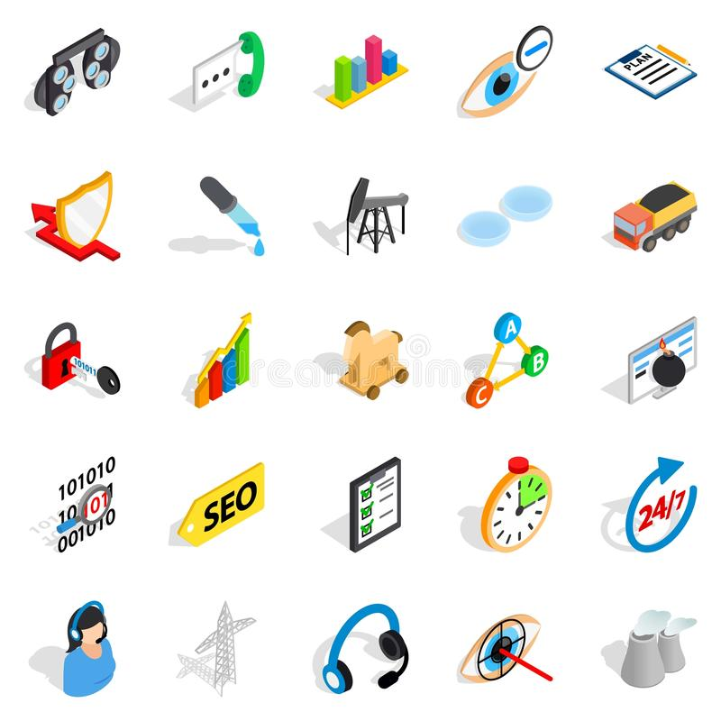 Future icons set, isometric style vector illustration