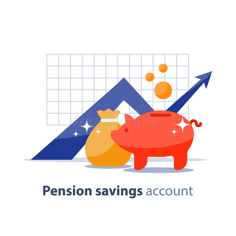Future investment, time is money, pension fund, superannuation finance, piggy bank, vector illustration. Future income growth graph, money bag and piggy bank royalty free illustration