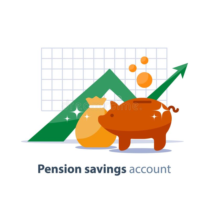 Future investment, time is money, pension fund, superannuation finance, piggy bank, vector illustration. Future income growth graph, money bag and piggy bank stock illustration