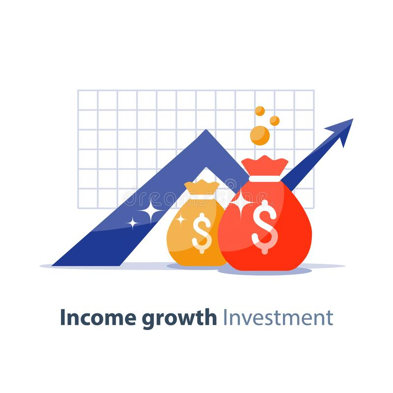 Future investment, time is money, pension fund, superannuation finance, money bags, vector icon. Future income growth graph, money bags, return on investment stock illustration