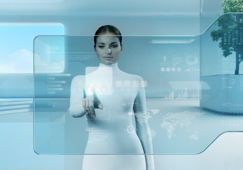 Future technologie. Interface d'écran tactile de bouton-poussoir de fille. photographie stock libre de droits