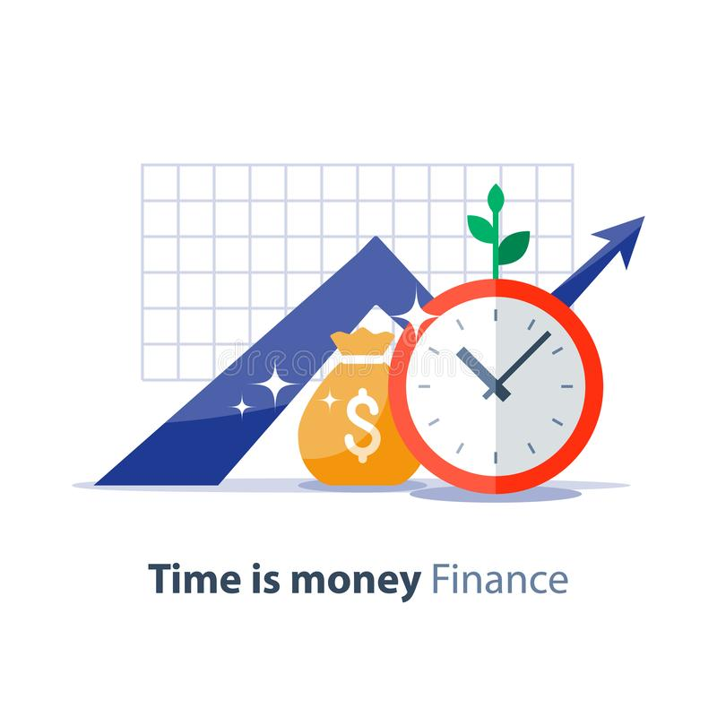 Future investment, time is money, pension fund, superannuation finance, money bag, vector illustration. Income growth graph, money bag and clock face, return on vector illustration