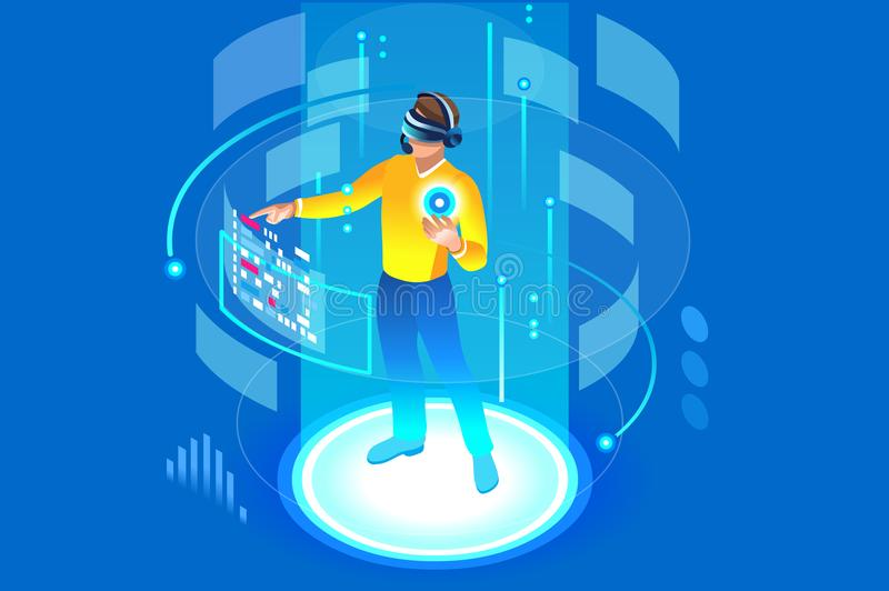 Into the future isometric man wearing technology. Into the future, isometric man wearing technology and touching virtual reality, augmented vr. Gadget interface vector illustration