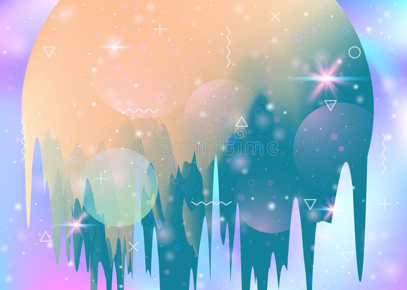 Future landscape with holographic cosmos and abstract universe b stock illustration