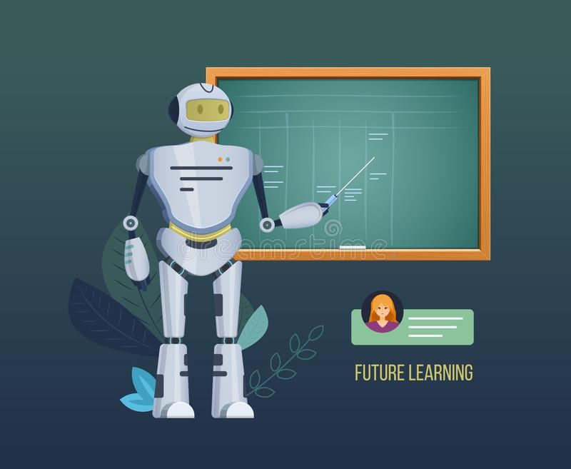 Future learning. Electronic robot near school blackboard, explains materials, conducts lectures, seminar. Future learning. Electronic mechanical robot near stock illustration