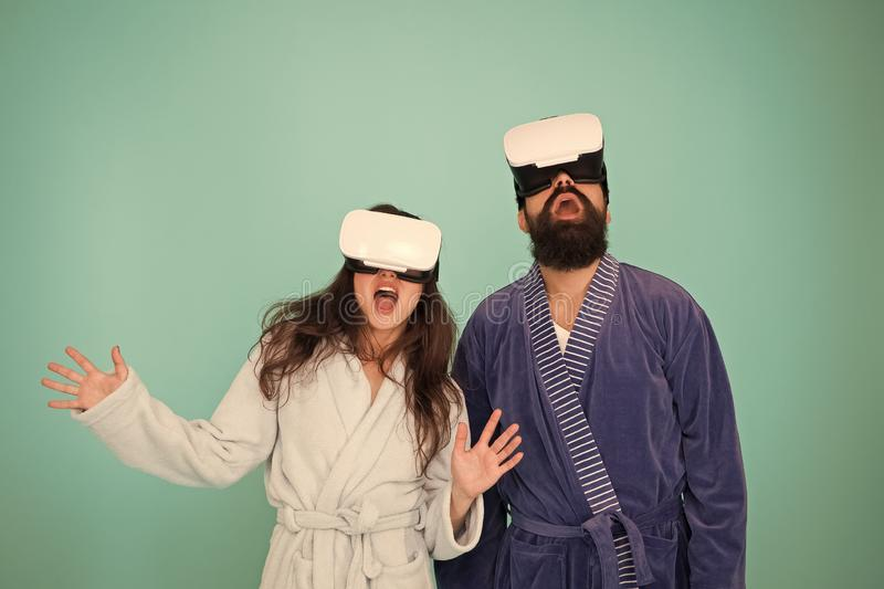 Future life. Good morning. Couple in love. Family. Virtual reality. Love. Happy family in vr glasses. Bearded man and. Future life. Good morning. Couple in love royalty free stock photography