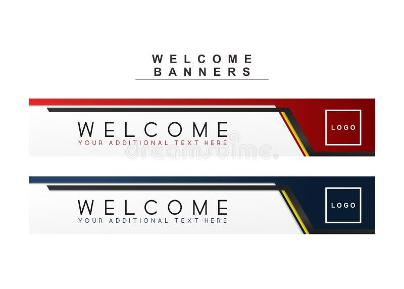 Future ligne calibre de vecteur de marine de bannières marron rouge et bleu d'accueil image stock