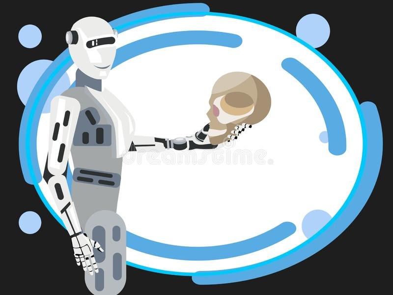 The future of mankind, the robot holds the human skull. In minimalist style Cartoon flat Vector royalty free illustration