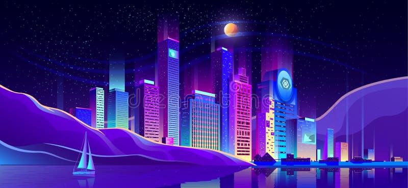 Future metropolis on ocean shore vector background. Future metropolis business district, resort city downtown cartoon vector. Illuminating neon lights, modern royalty free illustration