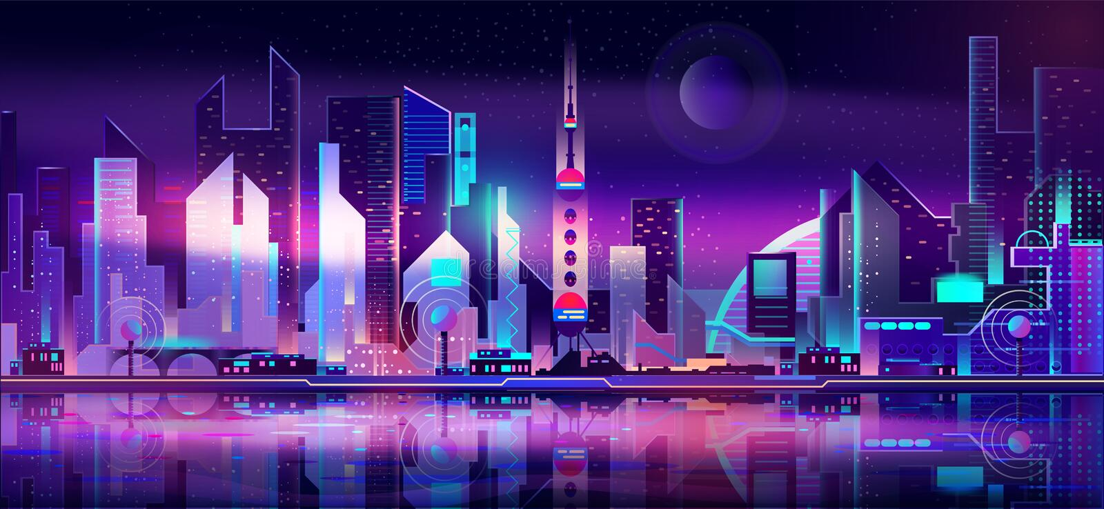 Future metropolis skyline vector urban background. Future metropolis on seacoast, extraterrestrial space colony city flat vector with futuristic skyscrapers royalty free illustration