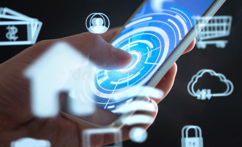 Future mobile phone technology to control smart home. Cellphone app interface with abstract IOT and AR data. royalty free stock image